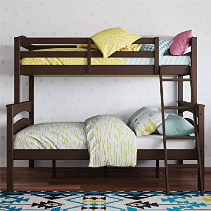 Dorel Living Brady Solid Wood Bunk Beds Twin Over Full With Ladder And Guard Rail Espresso
