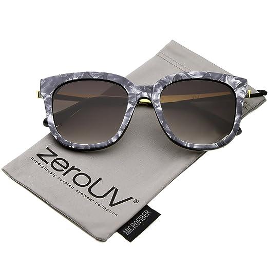 a2c82de6c6 zeroUV - Modern Marble Print Horn Rimmed Round Gradient Lens Square  Sunglasses 53mm (Dark Grey