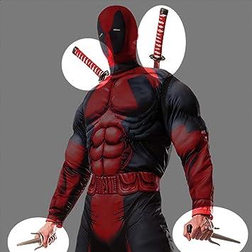 Amakando Accesorios para Disfraz de Deadpool / Negro-Gris ...