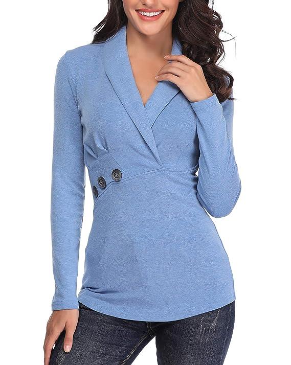 ANIENAYA Mujeres Tops con Cuello en V para Blusas Damas de mantón Abrigo túnica Wrap Camisas Plisadas de Mangas largas Botones Decorativos: Amazon.es: Ropa ...