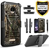 Moto Z Play Case, Dual Layers [Combo Holster] Phone Cover And Built-In Kickstand Bundled with [HD Screen Protector] Hybird Shockproof And Circlemalls Stylus Pen For Motorola Moto Z Play (Camo)