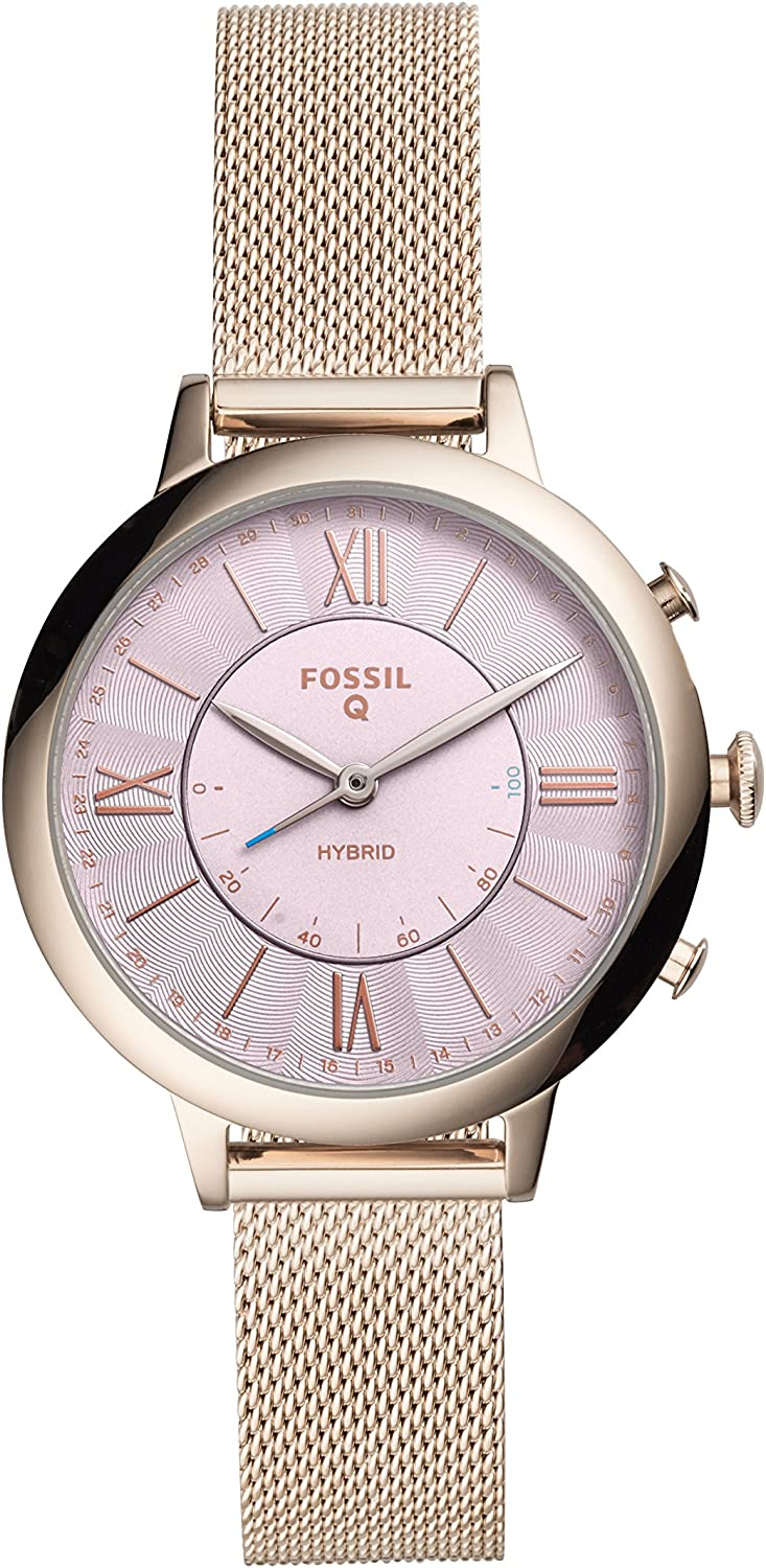 Fossil Q Women's Jacqueline Stainless Steel and Leather Hybrid Smartwatch, Multiple Color Variants