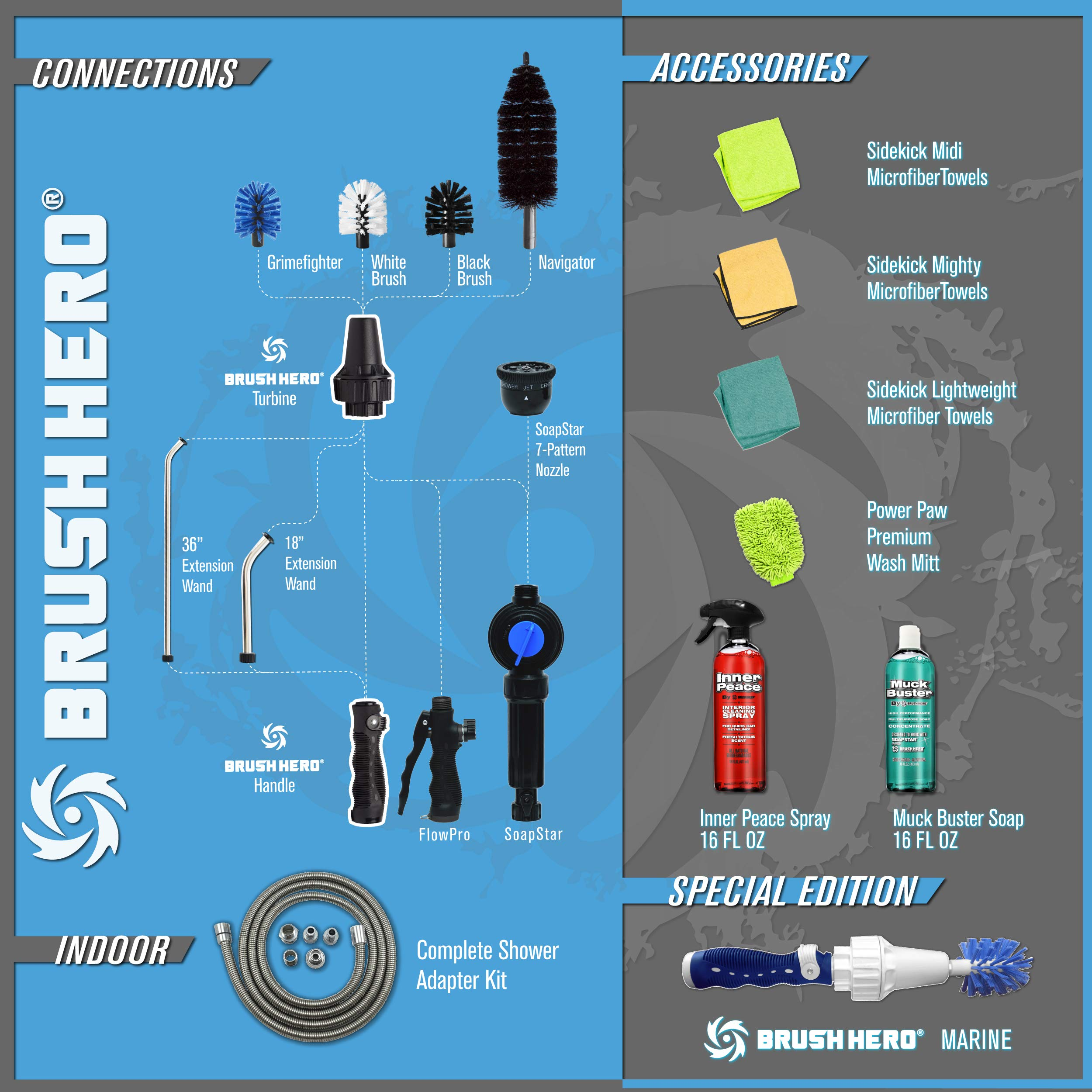 Brush Hero Master Set Includes Brush Hero Starter, Soap Star, 3 Extra Brushes, Soap, Interior Spray, Extension Wand, Microfiber, Utility Bag by Brush Hero (Image #9)