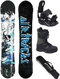 AIRTRACKS Snowboard Komplett Set / S-MILE Wide + Snowboardbindung Star + Snowboardboots + Sb Bag / 163 166 169 cm