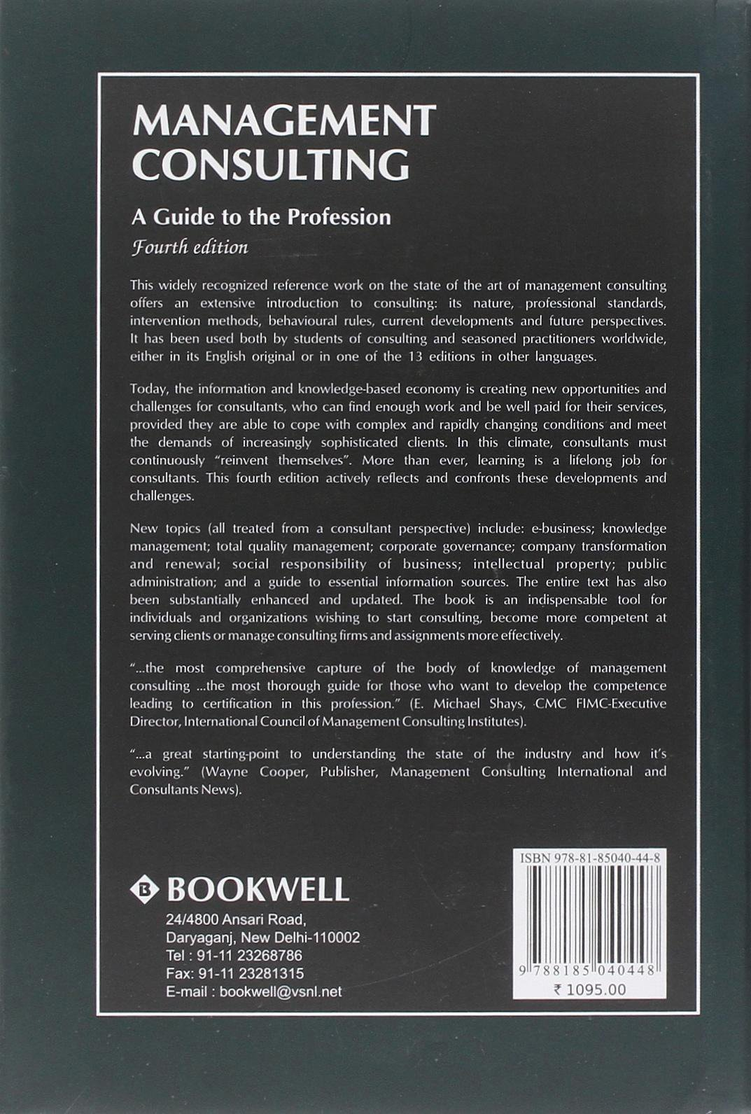 Management Consulting A Guide To The Profession Milan Kubr Milan Kubr 9788185040448 Amazon Com Books