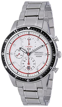 f4faf98df7e Image Unavailable. Image not available for. Color  Seiko Chronograph White  Dial Stainless Steel Mens Watch SNDF35P1