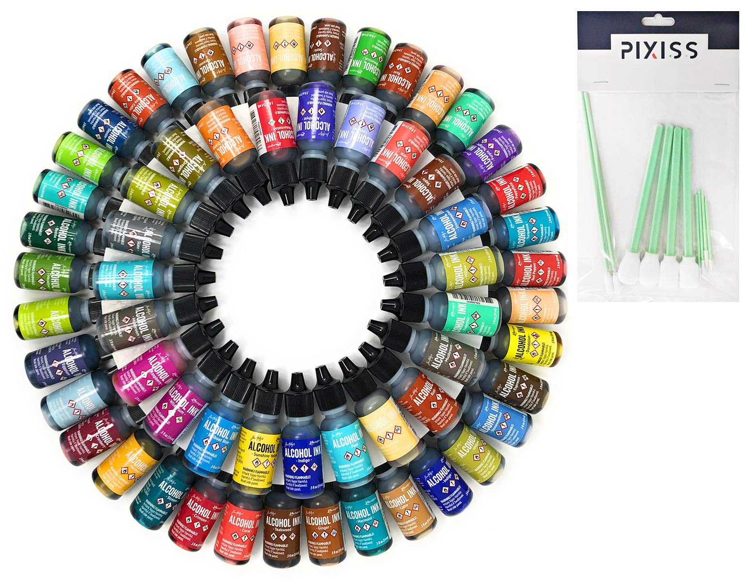50x Tim Holtz Alcohol Ink .5oz Bottles (Assorted Colors, No Duplicates) and 10X Pixiss Ink Blending Tools by GrandProducts