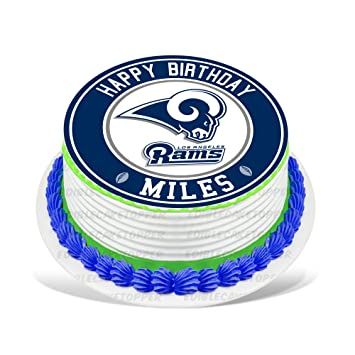 Los Angeles Rams Edible Cake Topper Personalized Birthday 8quot Round Circle Decoration Party Sugar