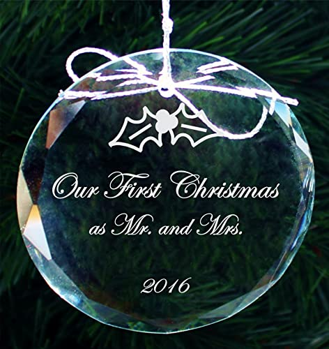 Our First Christmas Crystal Ornament Handmade Newlywed Engagement Holiday Ornaments Cor001