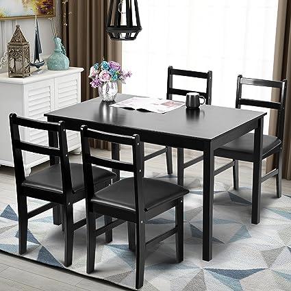 Merax 5pc Dinning Set Kitchen Dining Table With 4 Chairs Soild Wood Dark  Espresso Finish