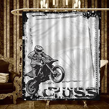 Warmfamily Motorcycle Shower Curtains Mildew Resistant Motocross Racer Image Grungy Background Poster Style Monochromic Artwork Print