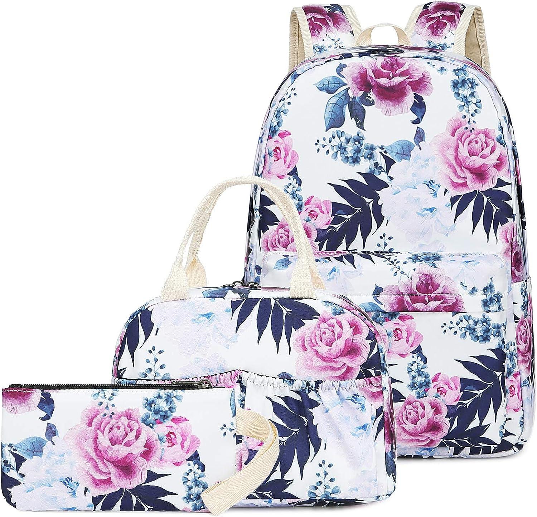 BLUBOON Teens Backpack Set Canvas Girls School Bags, Bookbags 3 in 1