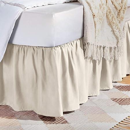 AmazonBasics Ruffled Bed Skirt Bright White Queen