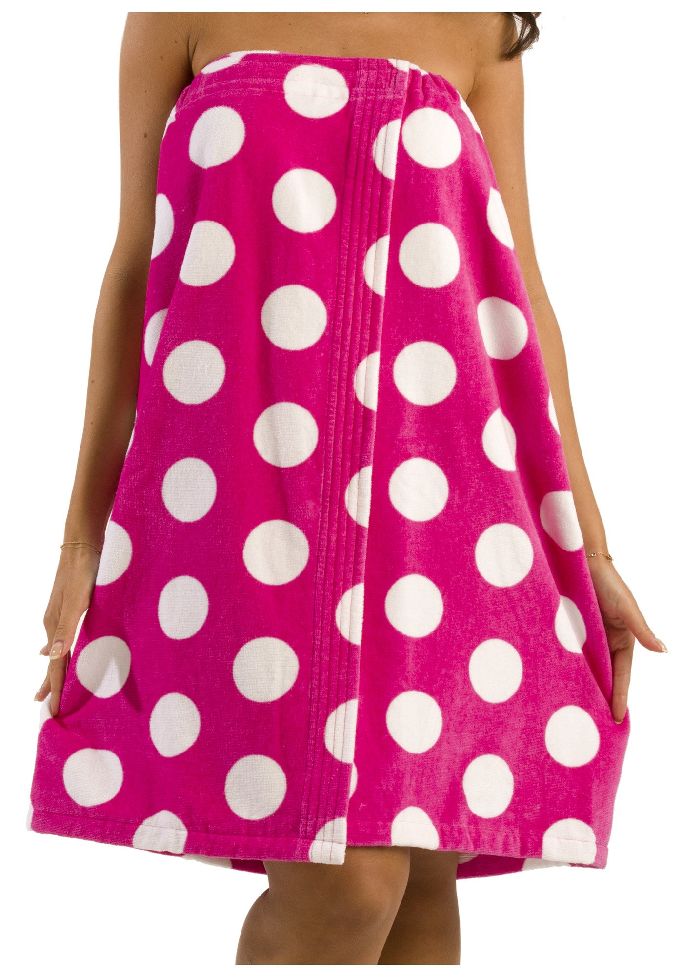byLora Terry Cotton Shower Bath Wrap Women Towel, Cover Up Towel Beach Swimming Pool for Ladies - Fuchsia - One Size