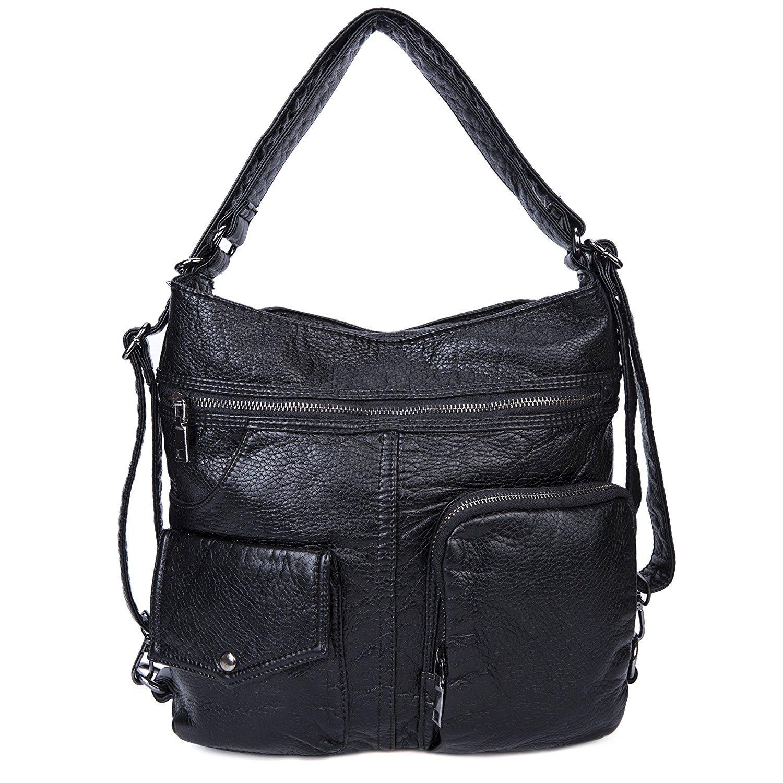 Bolsos de hombro Impermeable Mochila para mujeres Cuero PU suave lavado Bandolera Vintage Señoras-Negro2