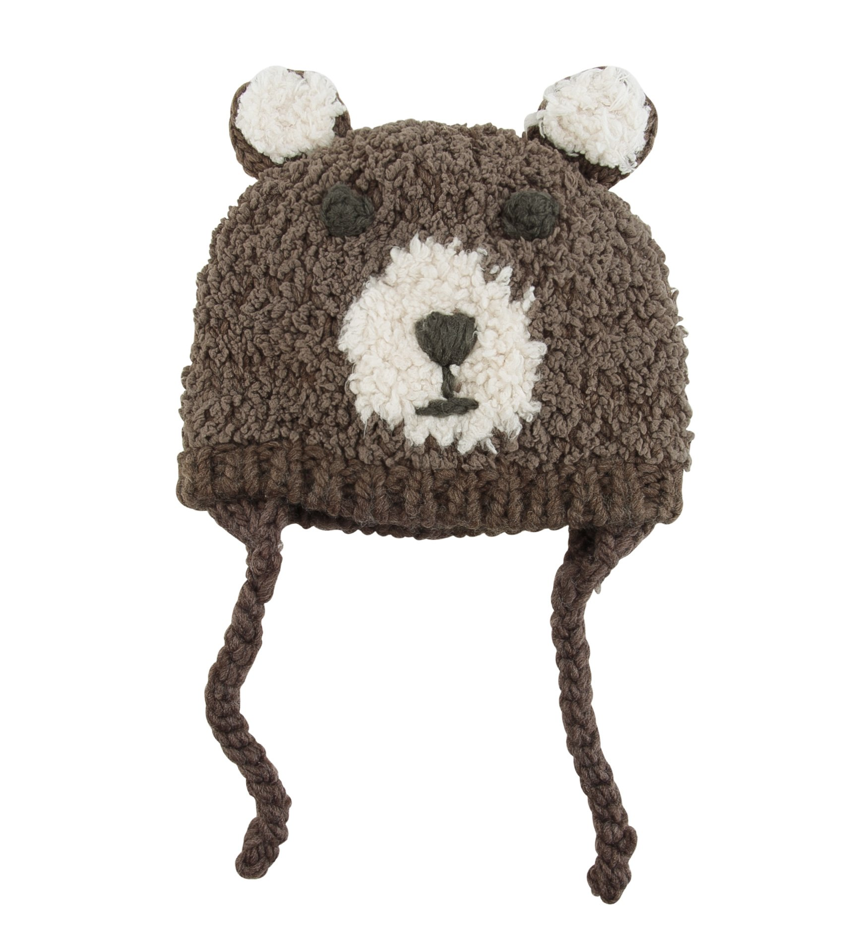 SUMOLUX Baby Toddlers Warm Earflap Hood Beanies Hat Knitted Brown bear Animal Ears Hats Lined Beanie Crochet Handmade Cap for Winter