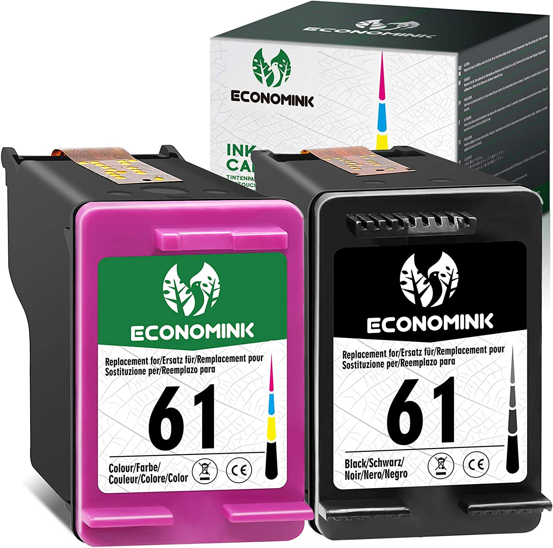 Economink Remanufactured Ink Cartridges Replacement for HP 61 Black Color Combo for Envy 5530 4500 4502 5535 OfficeJet 4630 4635 4632 DeskJet 2540 1010 3050a 2542 2549 3510 2541 2548 1055 1512 Printer