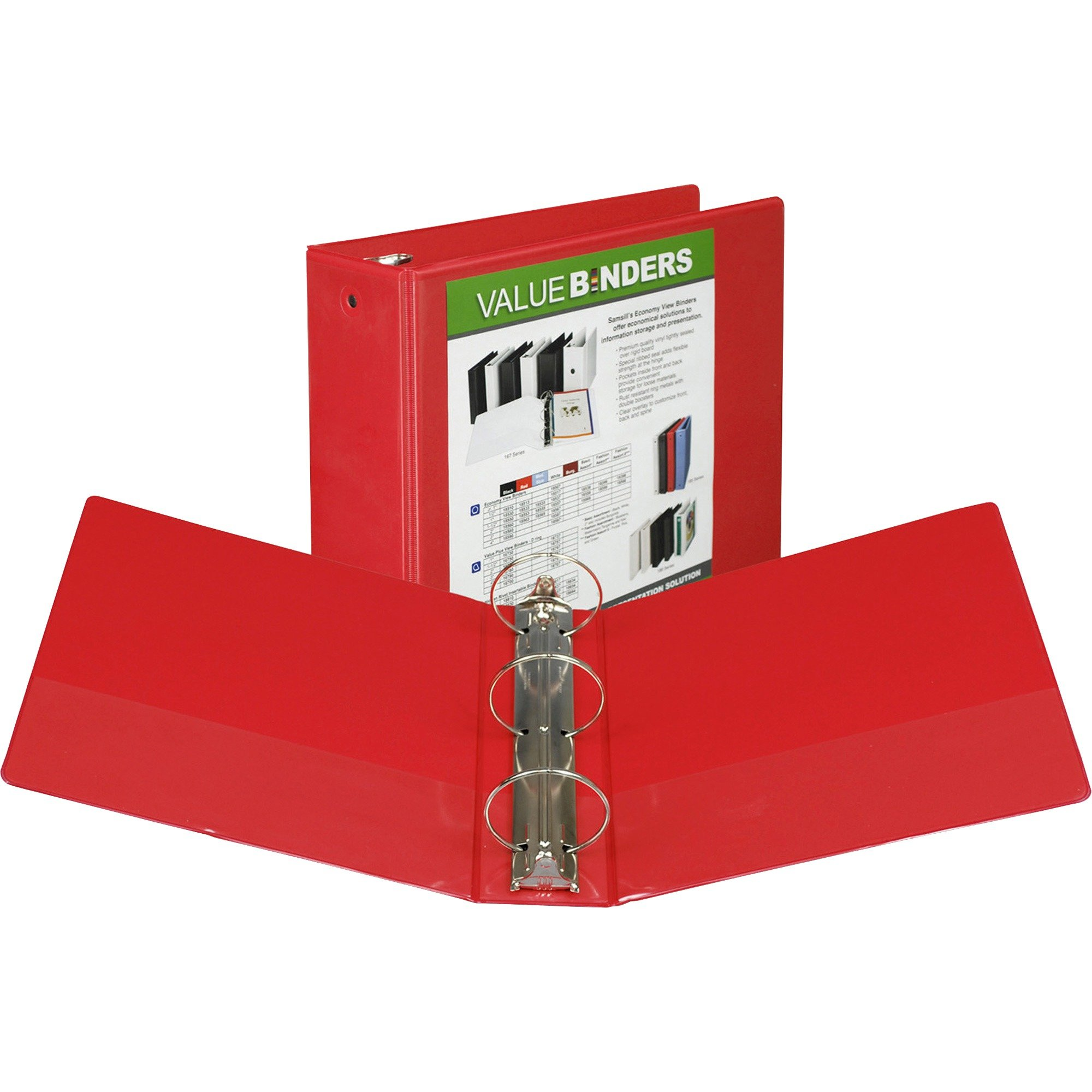 Samsill Economy 3 Ring View Binder, 3 Inch Round Ring Holds 550 Sheets, Customizable Clear View Cover, Red (18583)