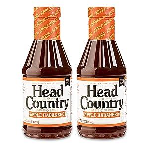 Head Country Bar-B-Q Sauce, Apple Habanero Flavor, 20oz (pack of 2)