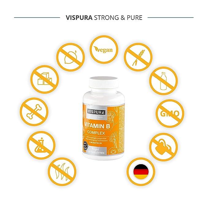Vitamina B Complex, altamente concentrada, 120 comprimidos veganos, todas las vitaminas B sin estearato de magnesio, con calidad alemana premium y ...