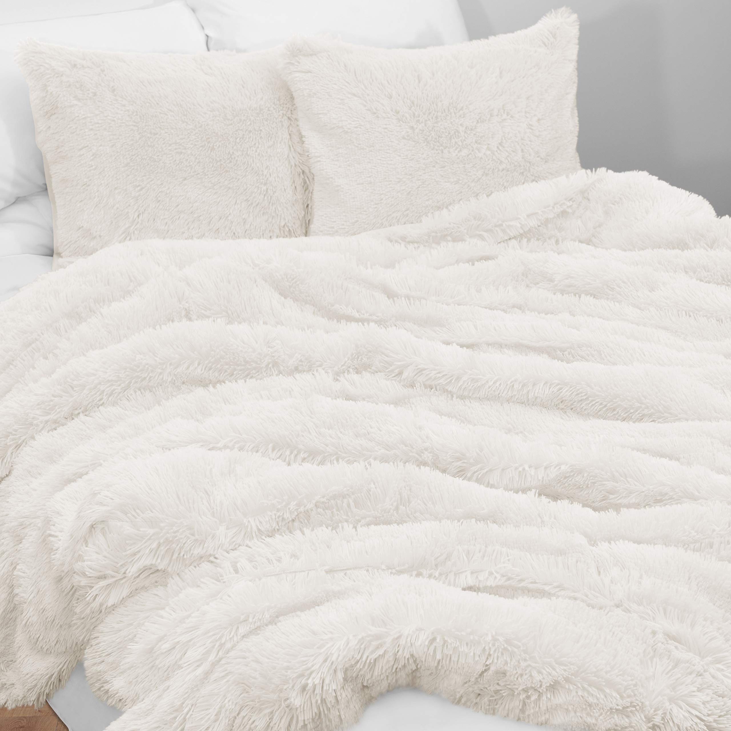 KB & Me Boho Off White Fuzzy Faux Fur Plush Duvet Comforter Cover and Sham 2 pc. Soft Shaggy Fluffy Twin/Twin XL Size Bedding Set Ivory Cream Luxury College Dorm Teen