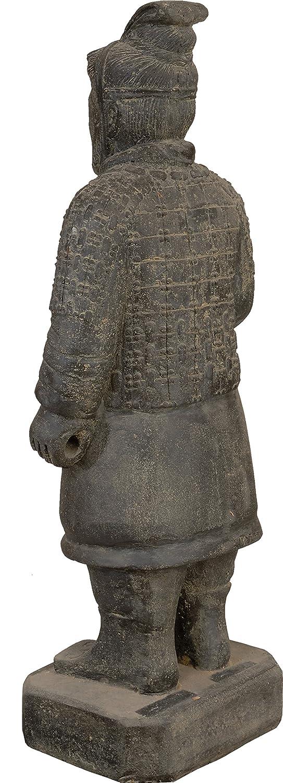 Gartenfigur Chinesischer Soldat stehend Steinguss Steinfigur Krieger Terrakotta Armee Statue 100cm f/ür Haus und Garten