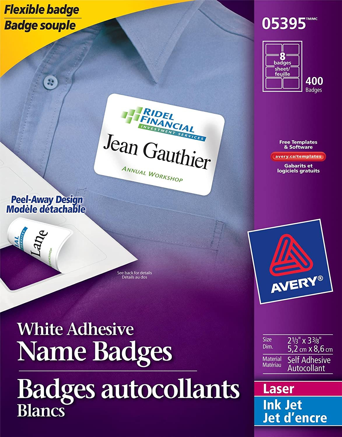 Avery Flexible Name Badges for Laser and Inkjet Printers, 3-3/8 x 2-1/3, Matte White, Rectangle, 400 Pack (5395) 3-3/8 x 2-1/3 Avery Dennison CA