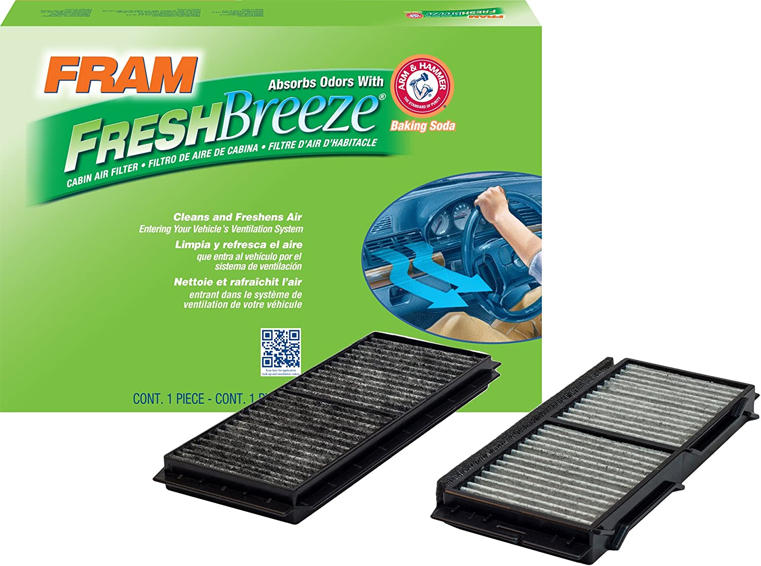 FRAM CF11672 Fresh Breeze Cabin Air Filter with Arm & Hammer