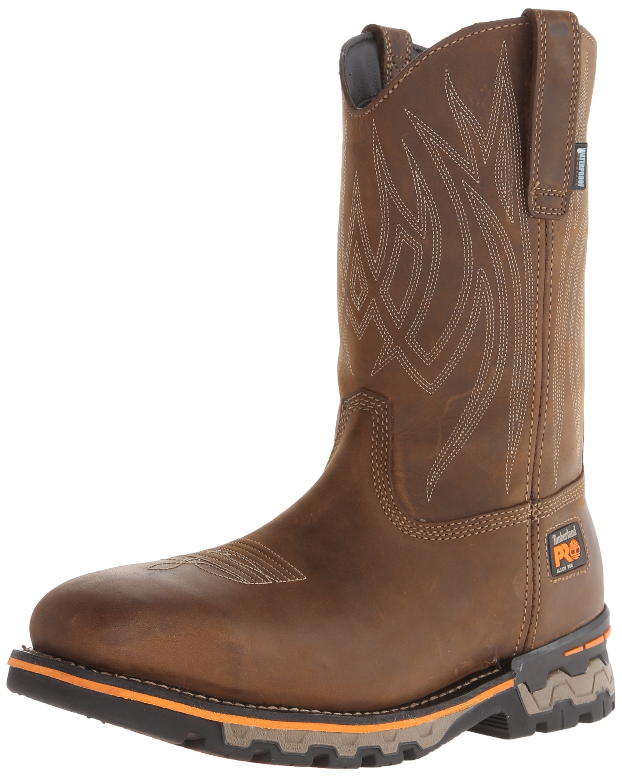Timberland PRO Men's AG Boss Pull-On Alloy SQ Toe Work and Hunt Boot, Distressed Brown Leather, 7.5 W US