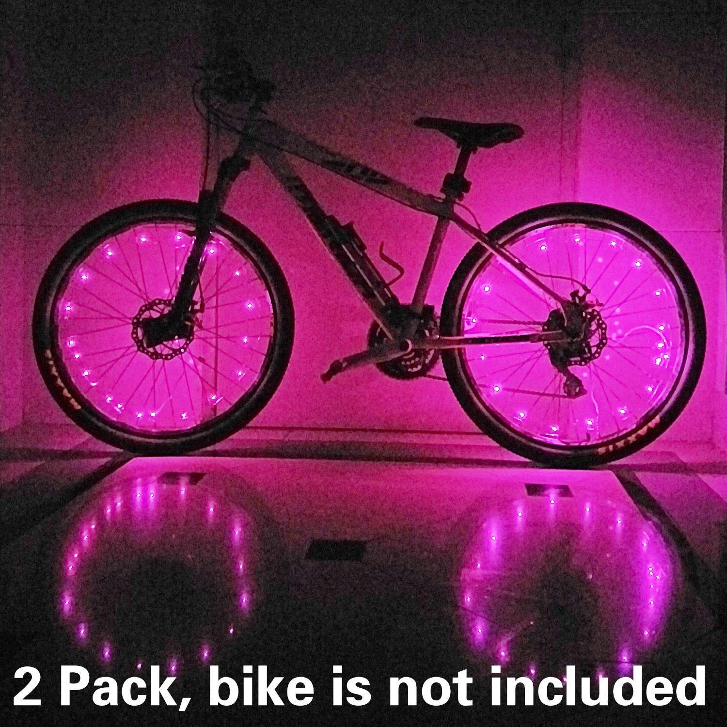 2 Pack Waterproof Bright Bicycle Tire Light Strip, Safety Spoke Lights, Cool Bike Accessories, Light Up Wheels, Safer Bicycle Spokes & Rims Light - Easy to install, No tools Needed,(2 Tiers Pack) by Cozy Homy (Image #9)
