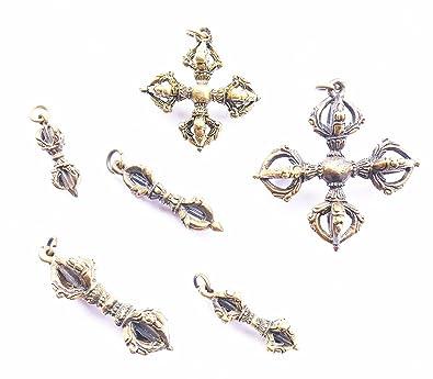 Amazon com: Lot 6 Pendants Magic Vajra Tibet Brass Powerful Luck