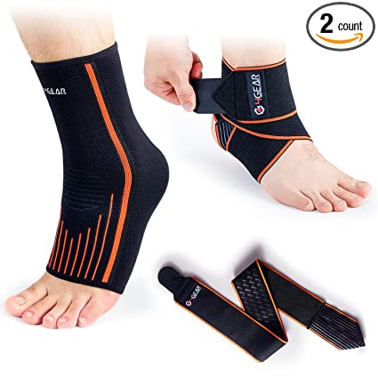 a8442d1112 Ankle Support Kit - (2 or 4 Pack)- Ankle Brace Straps & Ankle Compression  Sleeves - Best for Sports Protection, Injury Recovery, Reduce Swelling,  Ankle ...