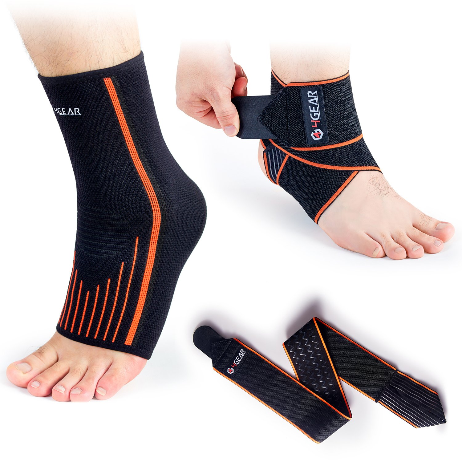4GEAR Ankle Support Kit - 2 Pack - Ankle Brace Strap & Ankle Compression Sleeve with Arch Supports - Best for Sports Protection, Injury Recovery, Reduce Swelling, Ankle Strain (Medium)