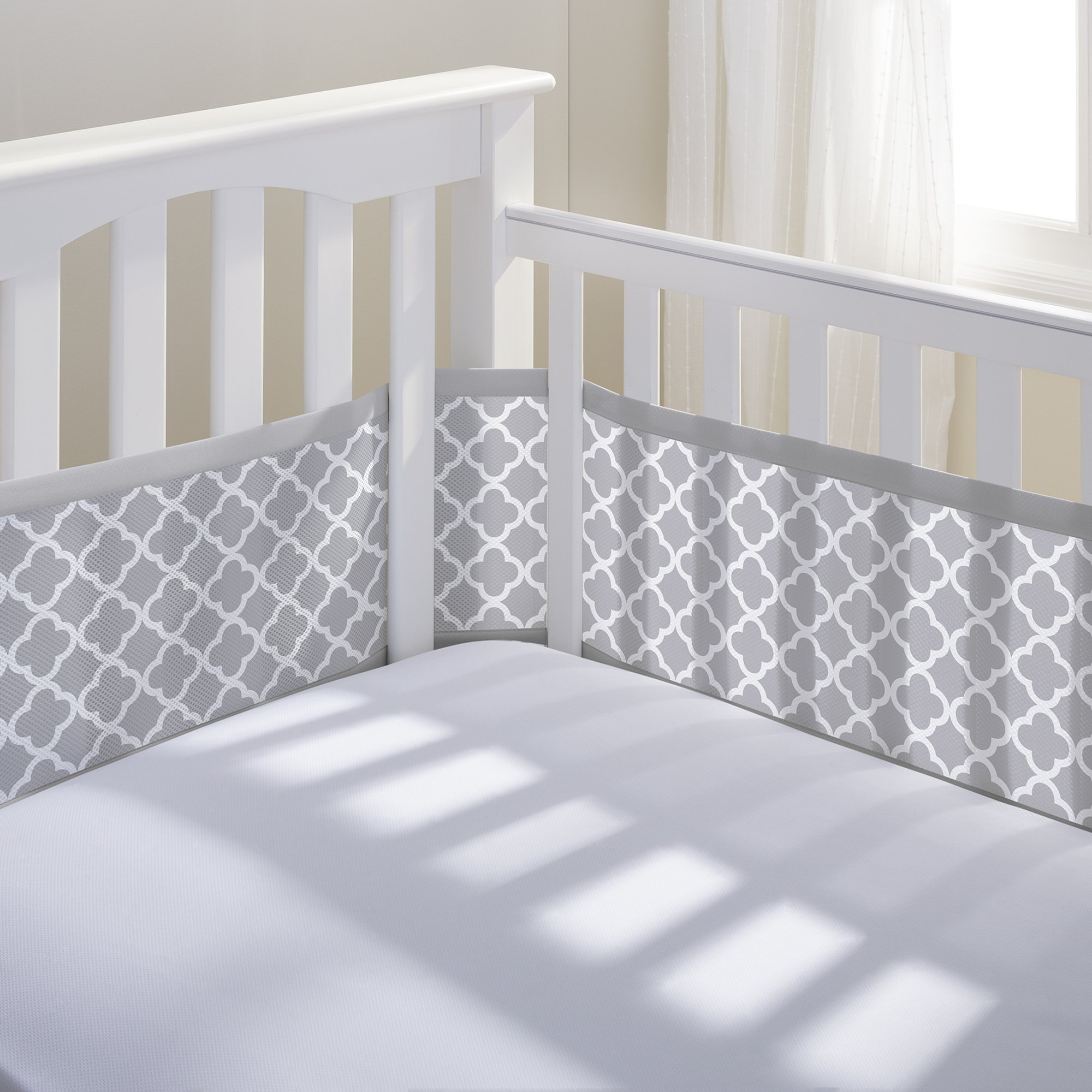 BreathableBaby Classic Breathable Mesh Crib Liner - Gray Clover by BreathableBaby
