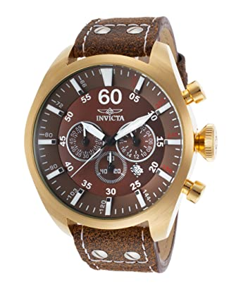 Invicta 19669 Mens Aviator Chronograph Brown Genuine Leather And Dial Watch