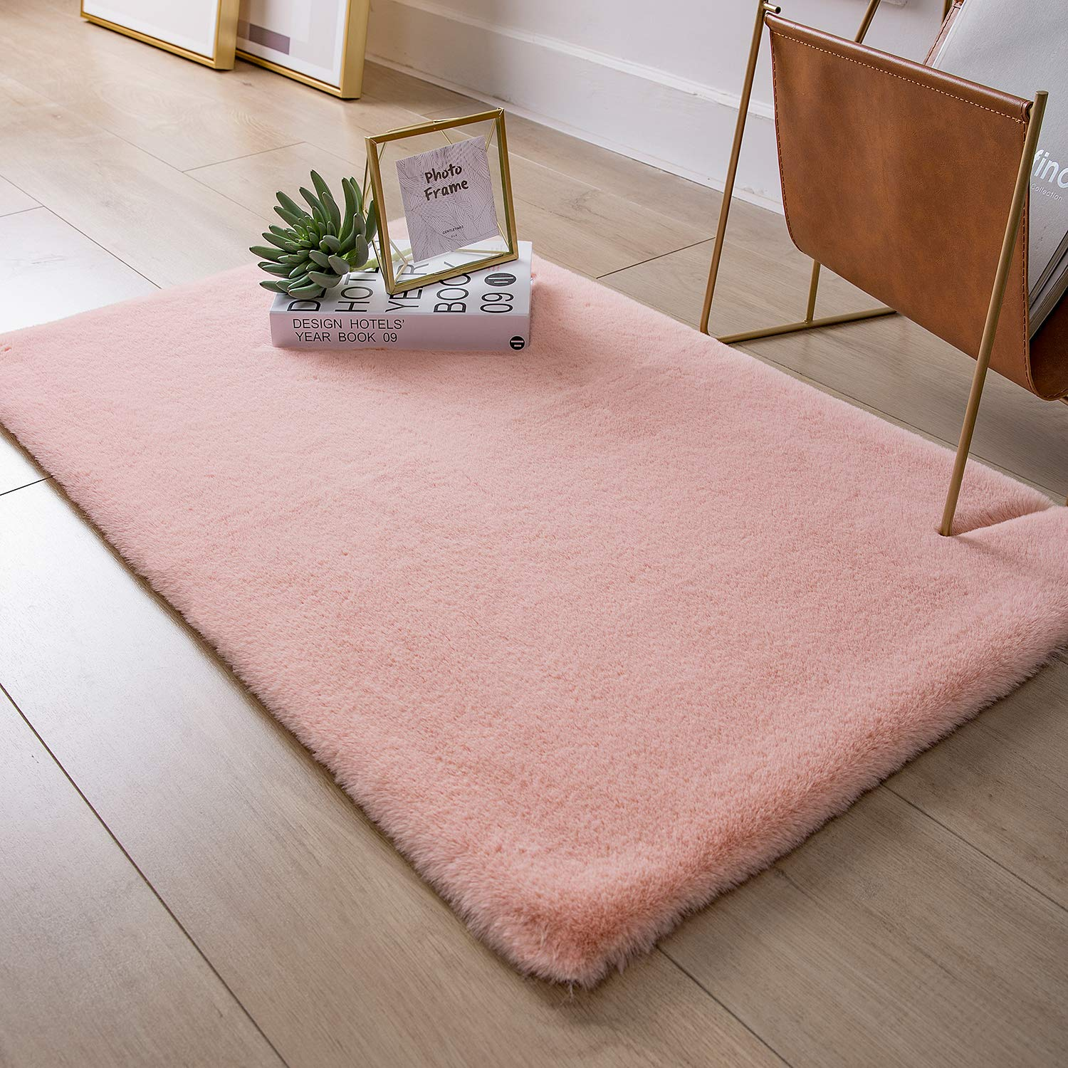 Ashler Soft Faux Rabbit Fur Chair Couch Cover Area Rug for Bedroom Floor Sofa Living Room Beige Rectangle 2 x 3 Feet
