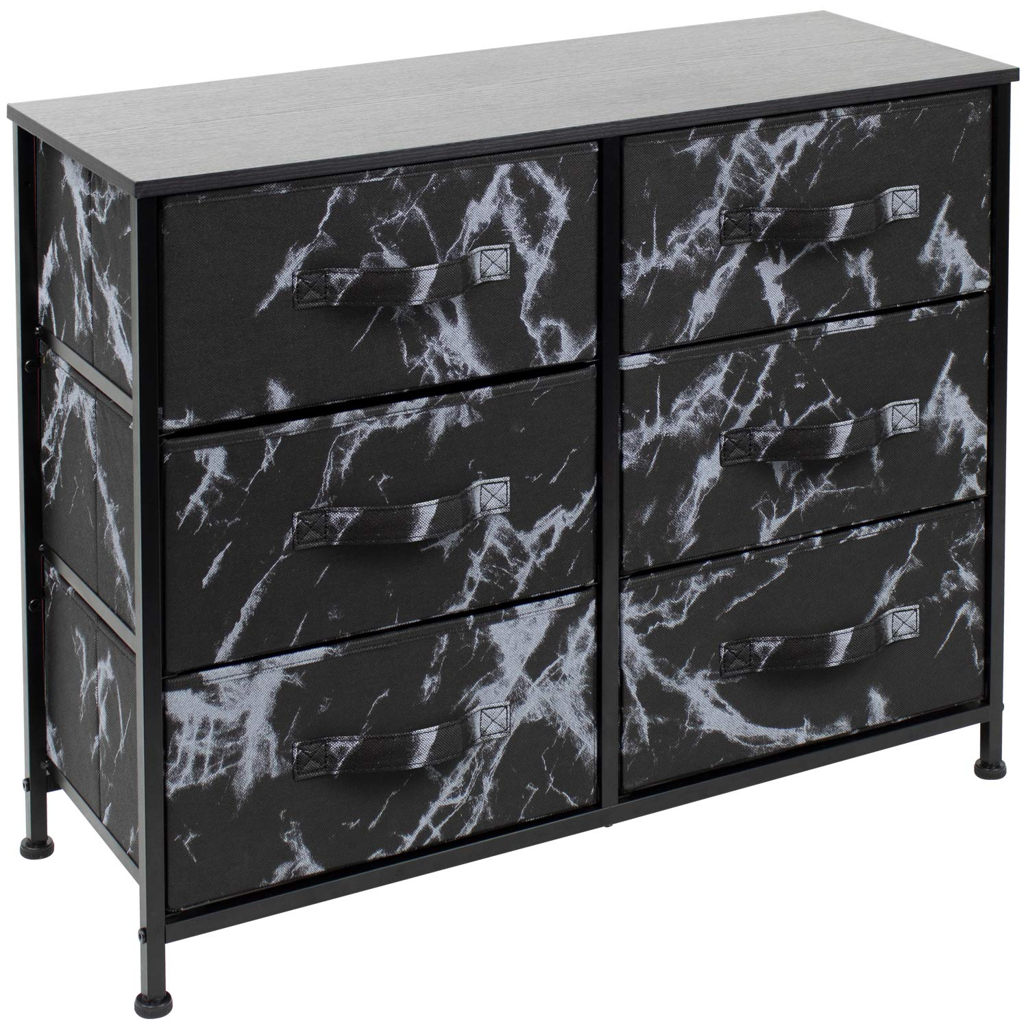 Sorbus Dresser with 6 Drawers - Furniture Storage Chest Tower Unit for Bedroom, Hallway, Closet, Office Organization - Steel Frame, Wood Top, Easy Pull Fabric Bins (Marble Black – Black Frame)