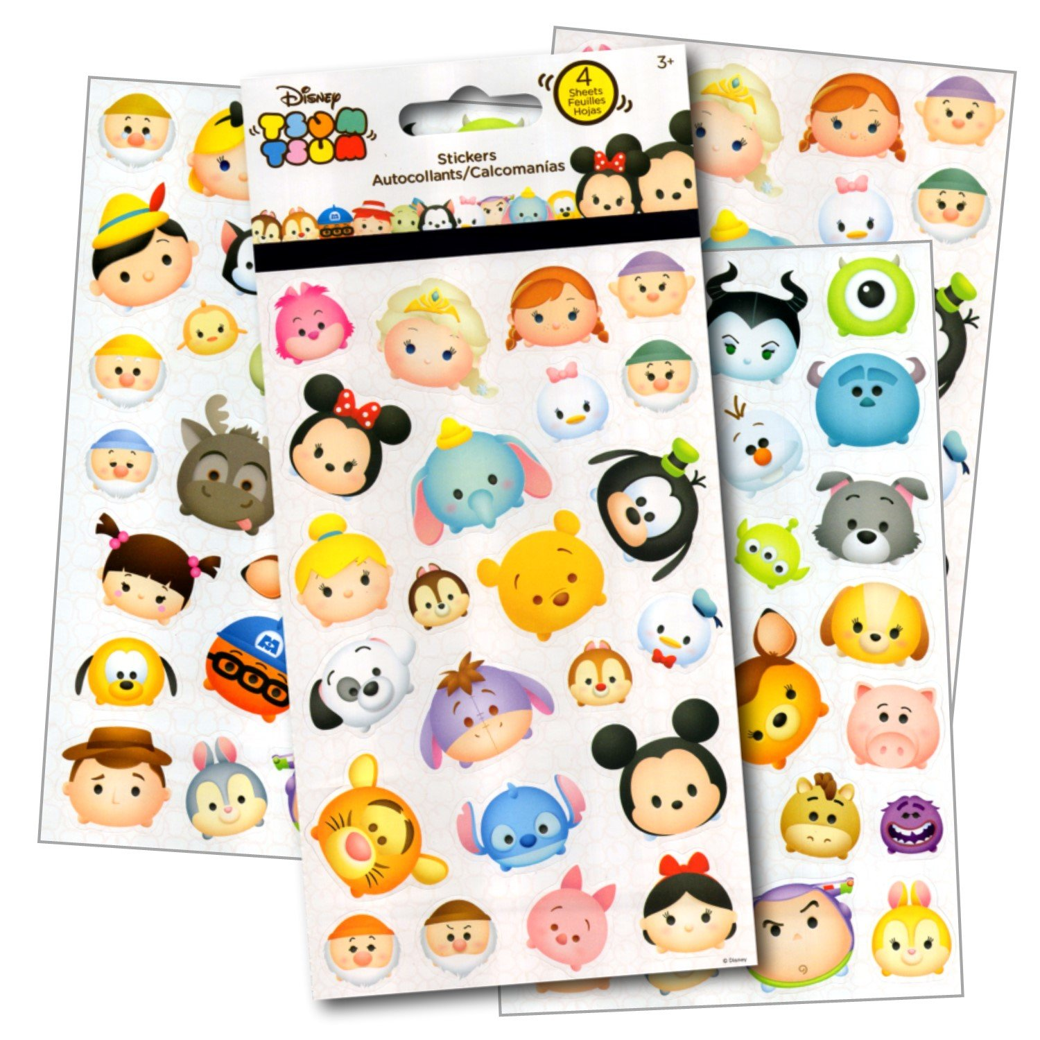 Disney Tsum Tsum Stickers 4 Sheets of Stickers Featuring Mickey Mouse Minnie Mouse also Featuring Tsum Tsum Characters from Frozen Toy Story Monsters Inc and Many More by Disney Studios