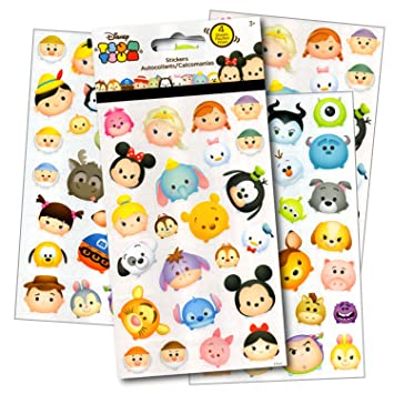 Disney Tsum Tsum Stickers - 4 Sheets of Stickers Featuring Mickey Mouse, Minnie Mouse,