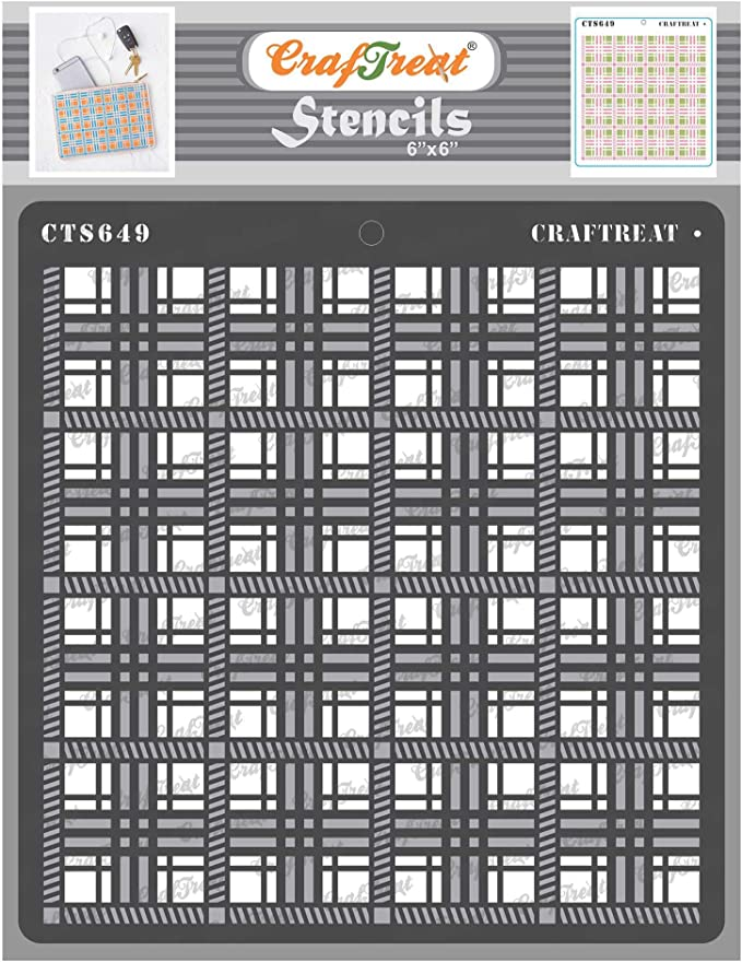 Stripe Stencils Plaid Home Decor Plaid Stencil for Wood 6x6 Inches CrafTreat Layered Stencils for Painting on Wood Line Stencil Multi Layer Stencil Plaid Combo 2 Step