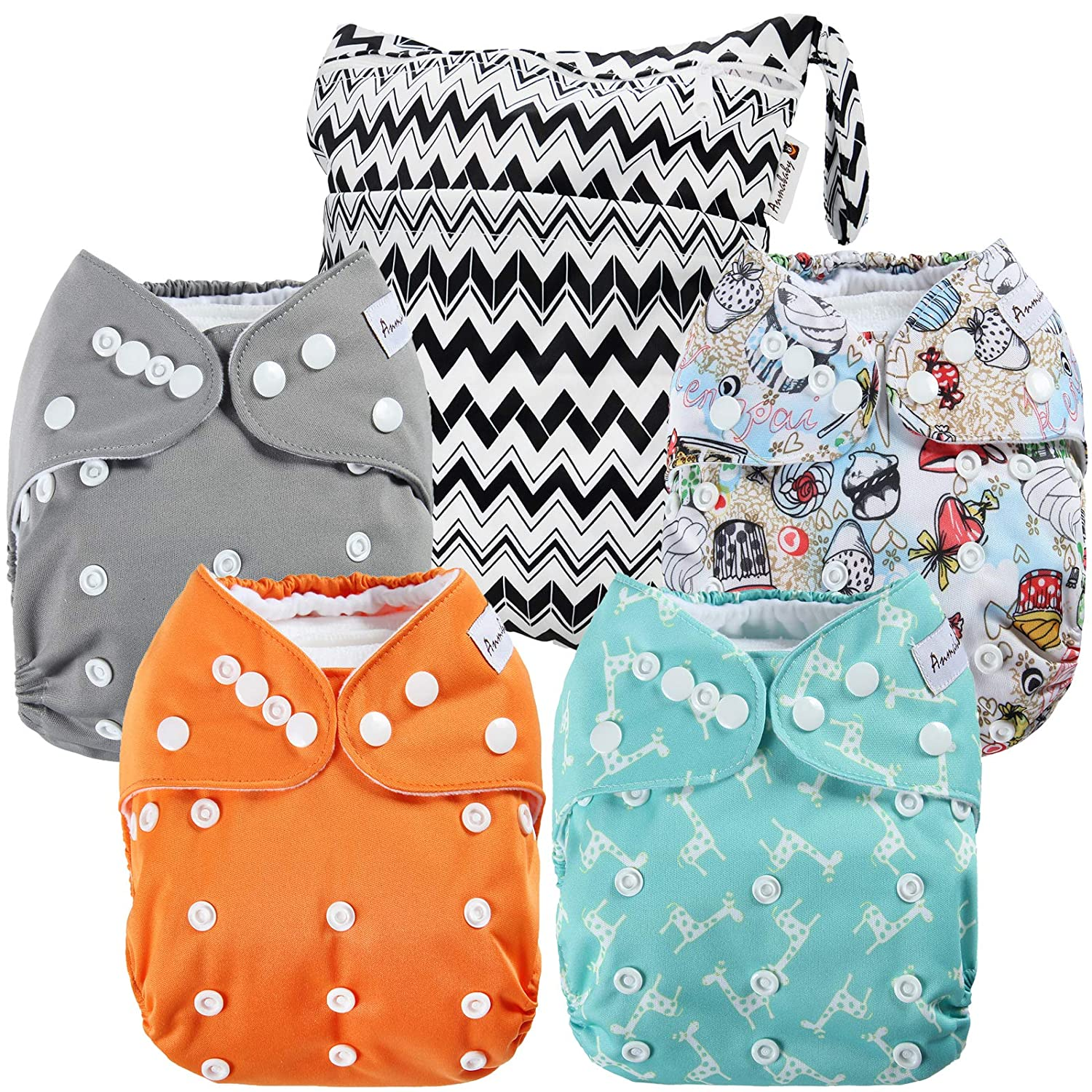 Blueangle Farm Animals Pattern Wet Dry Bag Cloth Diaper Bags Waterproof Washable Reusable Diaper Organizer,2 Pack