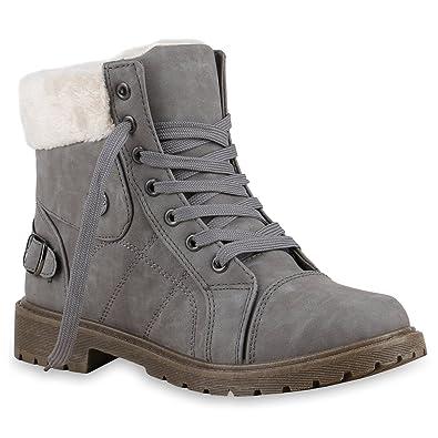 769da4021aca97 Stiefelparadies Damen Outdoor Boots Warm gefüttert Schuhe Sneaker Sneakers  127114 Grau 36 Flandell