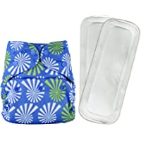 Bumberry Reusable Diaper Cover and 2 Wet Free Inserts (3-36 Months) (White Flowers on Blue)