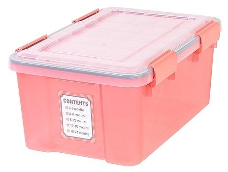 IRIS 19 Quart WEATHERTIGHT Baby Storage Box, Pink
