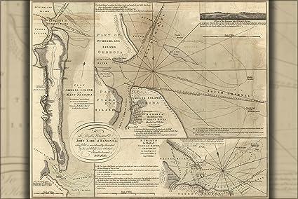 Amazon.com : 42x63 Poster; Map Of Amelia Island In East Florida 1777 ...