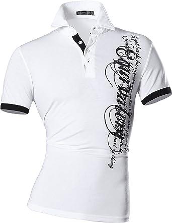 2b7fb94d370e jeansian Hommes Fashion T-Shirts Manches Courtes pour Men Casual Polo T- Shirts D403