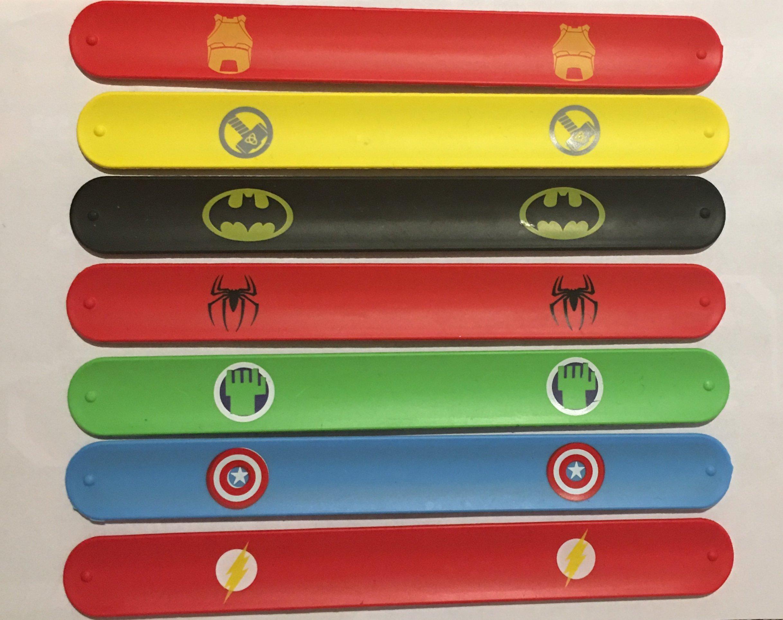 MAXCC 8pcs Superhero Slap Bracelets for Kids Boys & Girls Birthday Party Supplies Favors