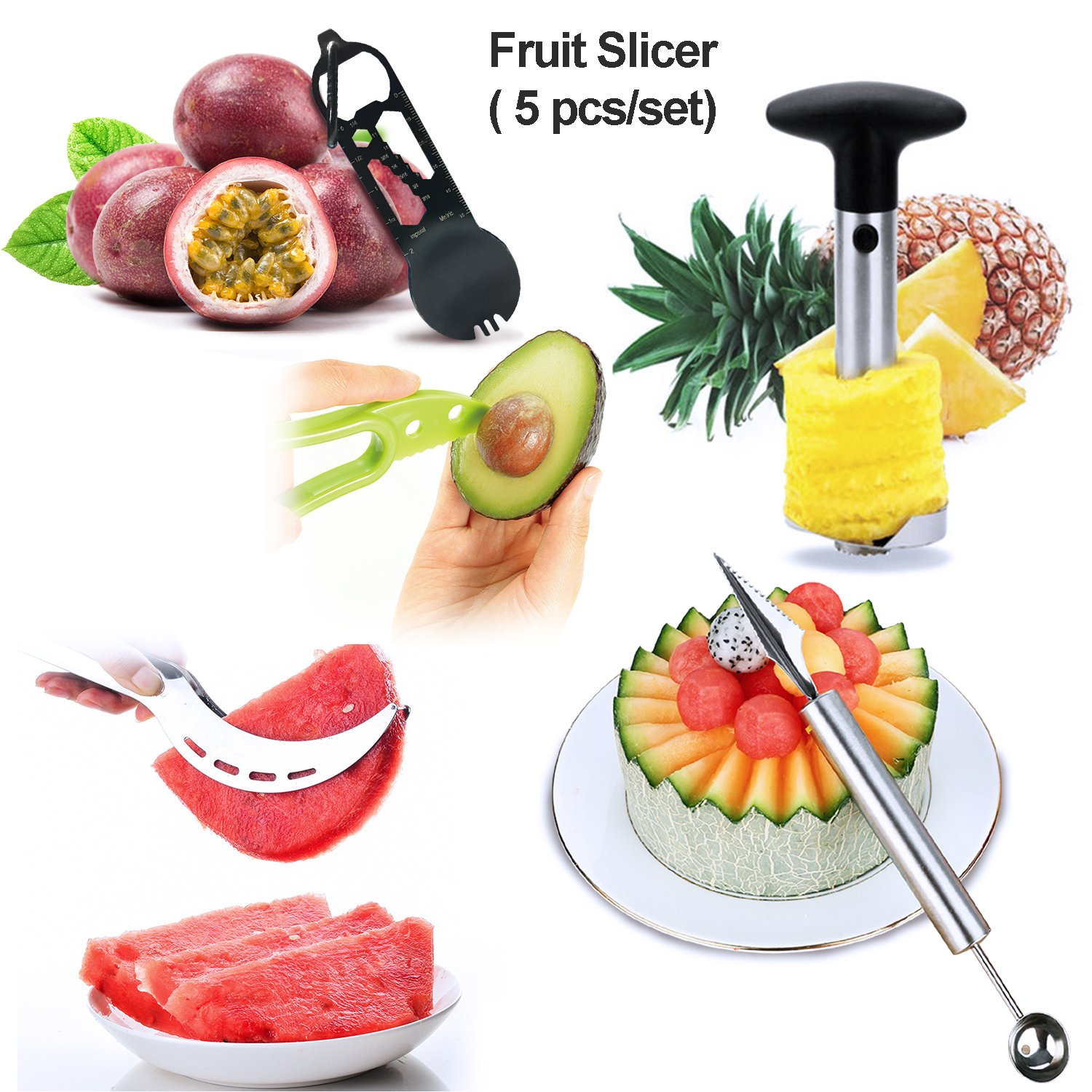 Lasten Fruit Slicer Peeler Set of 5 Included Stainless Steel Pineapple Corer, Watermelon Slicer, Avocado Slicer, Carving Knife&Melon Baller Scoop and Stainless Steel Outdoor Spork by Lasten