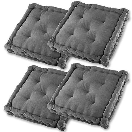 Gräfenstayn® Set de 4 Cojines, Cojines para Silla de 40 x 40 x 9
