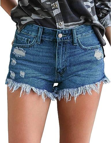 KISSMODA Damen Shorts Skinny Denim Hot Pants Hoch taillierter Raw Saum